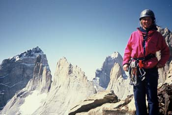 Louise on top of Cuernos Norte after the first as ent of Cave man 800m E5 1990